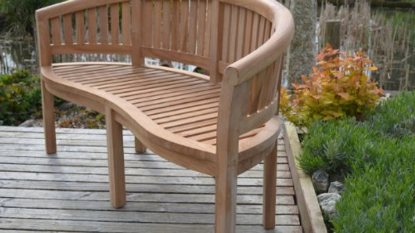 Banana Bench - 3 Seater - Solid Teak Curved Garden Bench