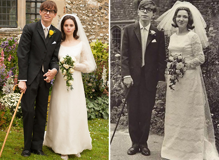 Eddie Redmayne And Felicity Jones As Stephen Hawking With His Wife Jane Wilde In The Theory Of Everything (2014)