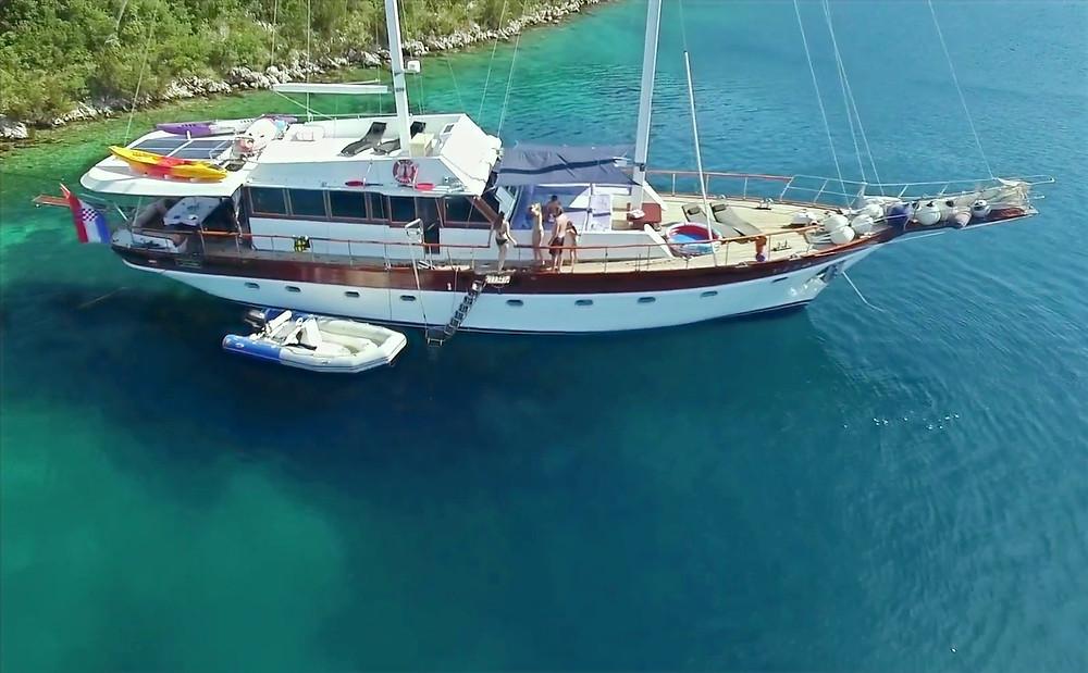 Luxury Gulet Vito, 27 meters long wooden yacht.