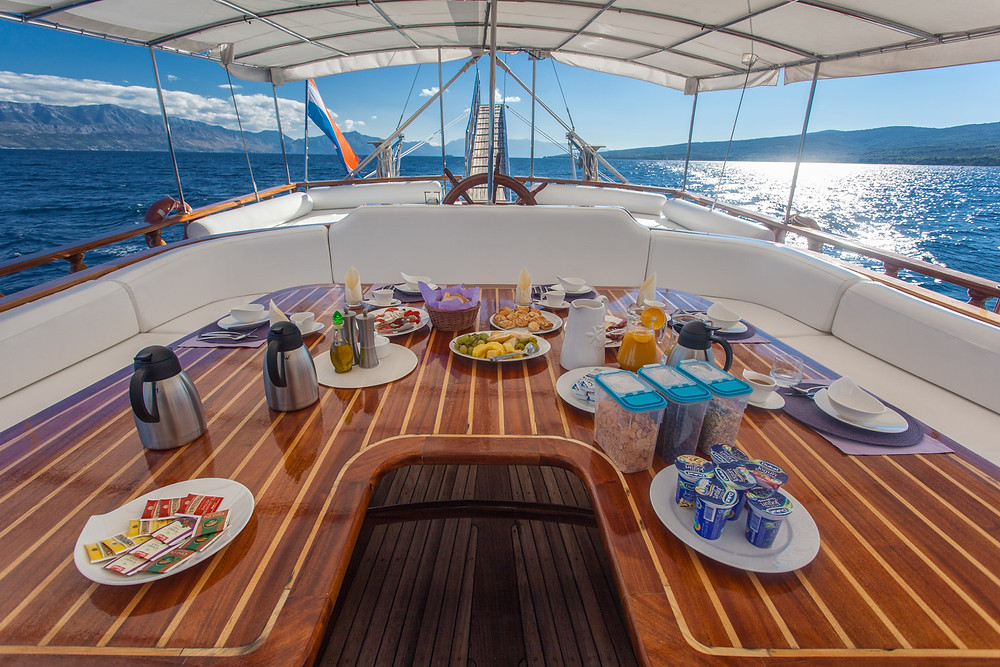 Delicious meals prepared by the chef on board.