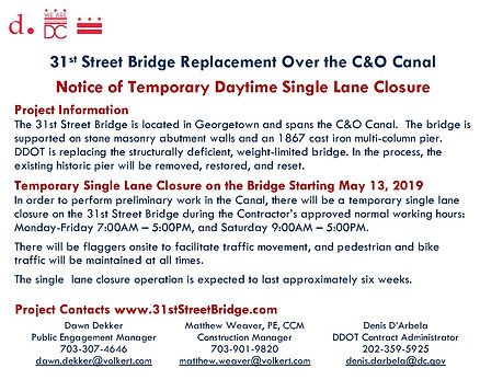 31st Street Bridge Single Lane Closure N