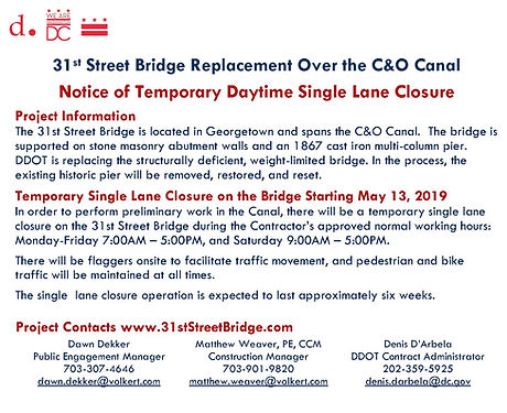 31st Street Bridge Single Lane Closure N