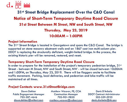 31st Street Bridge Temporary Road Closur