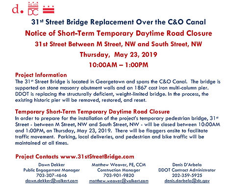 31st Street Bridge Temporary Road Closur