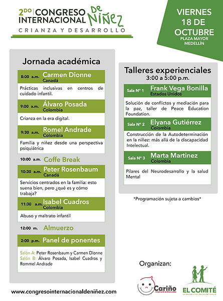 Programación Viernes 18 Segundo congreso Internacional de Niñez