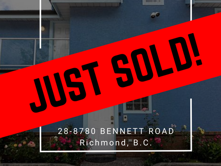 ✨ JUST SOLD BY ULIX Real Estate Group ✨ 28-8780 BENNETT ROAD , RICHMOND