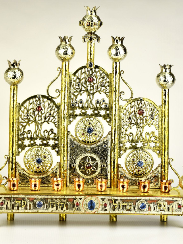 Handmade Silver Judaica Chanukah Menorah by Efim Levin