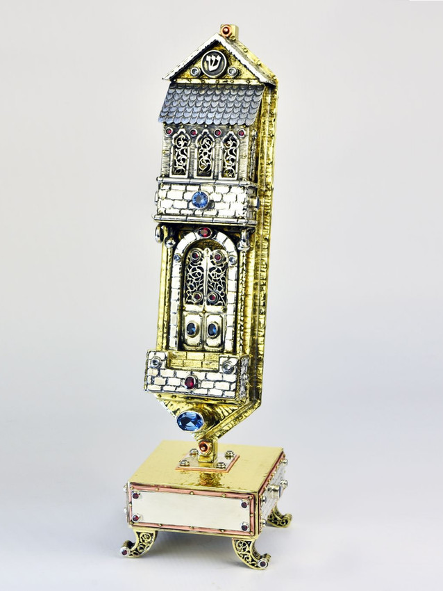 Gorgeous handmade Silver Mezuzah Case with precious Jewels