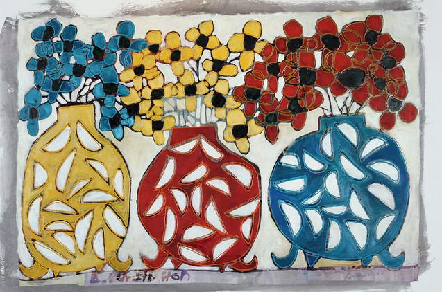Circular Flower Pots painting