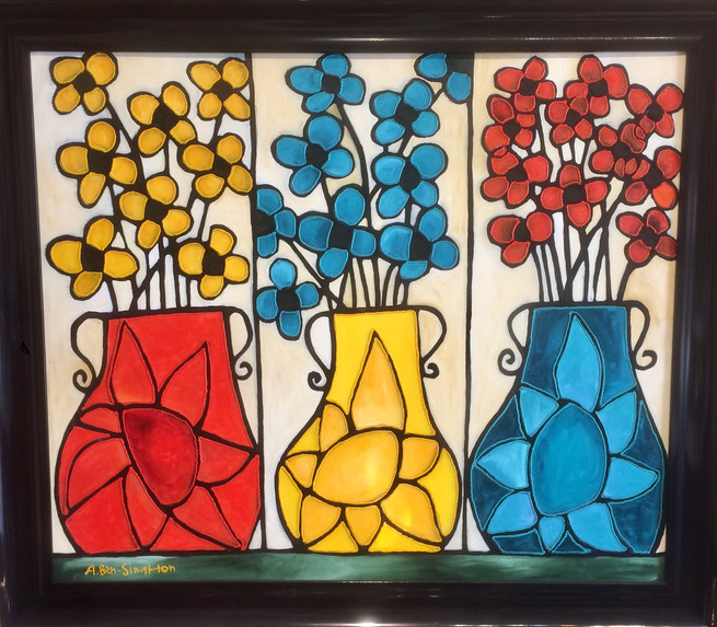 3 flower pots painting with green border