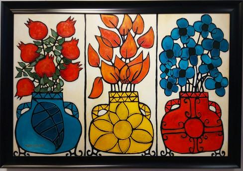 3 Large flower pots painting
