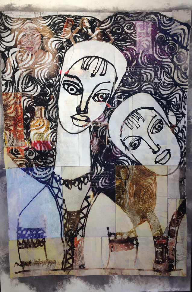 Two sister collage painting