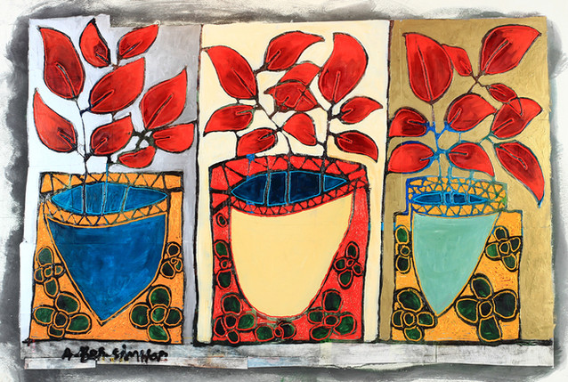 3 color flower pots painting