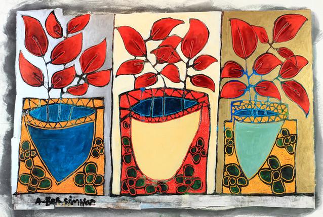 3 color flower pots painting