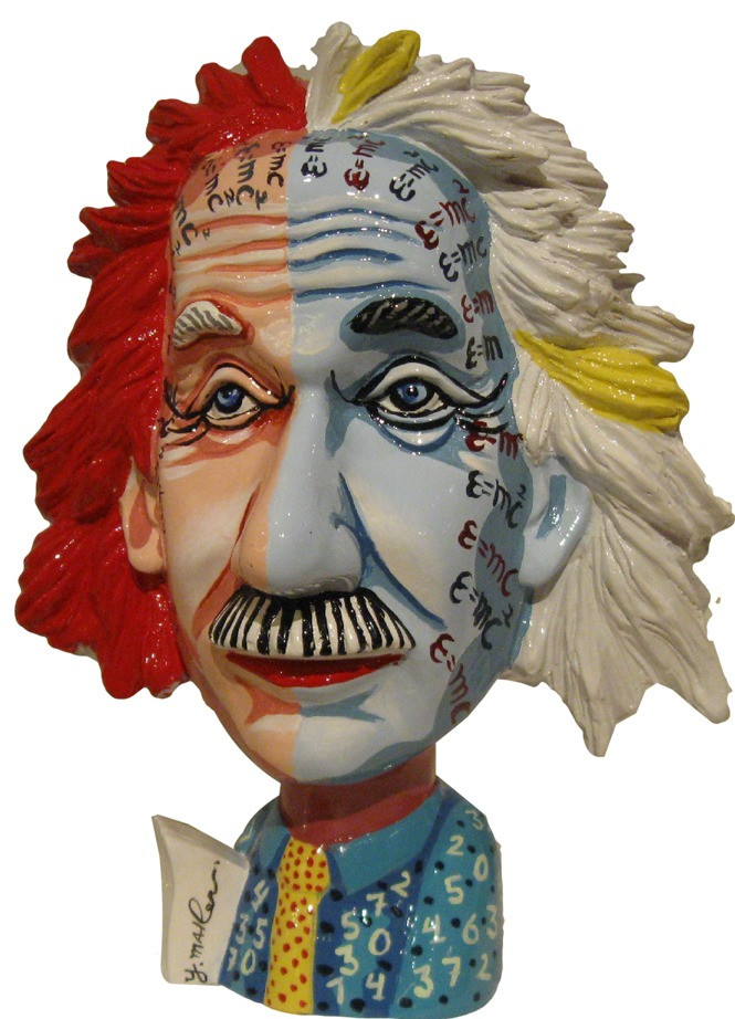 Albert Einstein Colorful Sculpture