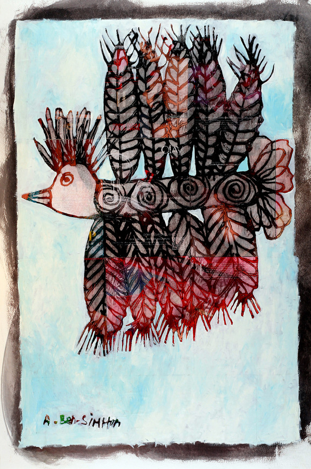 Abstract Bird Collage Painting