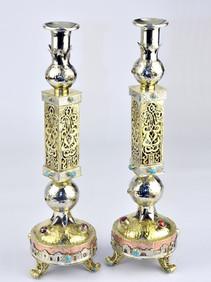 Gorgeous Handmade Shabbat Candlesticks Israeli Judaica by Efim Levin