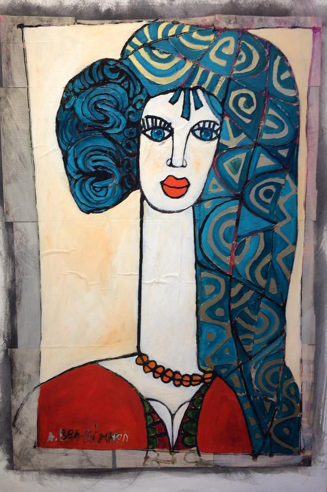 Abstract Blue Woman by Avi Ben-Simhon