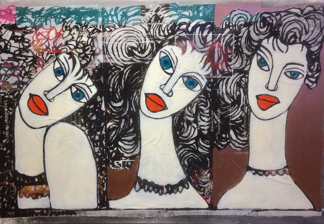 3 Sisters with long necks oil painting