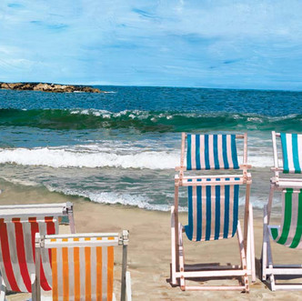Jazz Chairs on the Beach painting