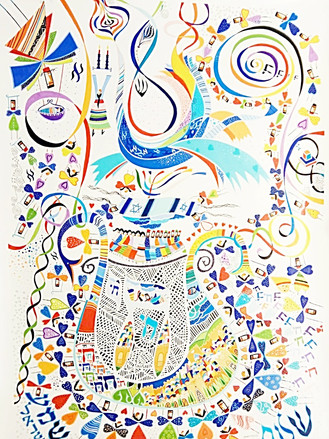 Holy Israel Kabbalah painting by Raphael Abecassis