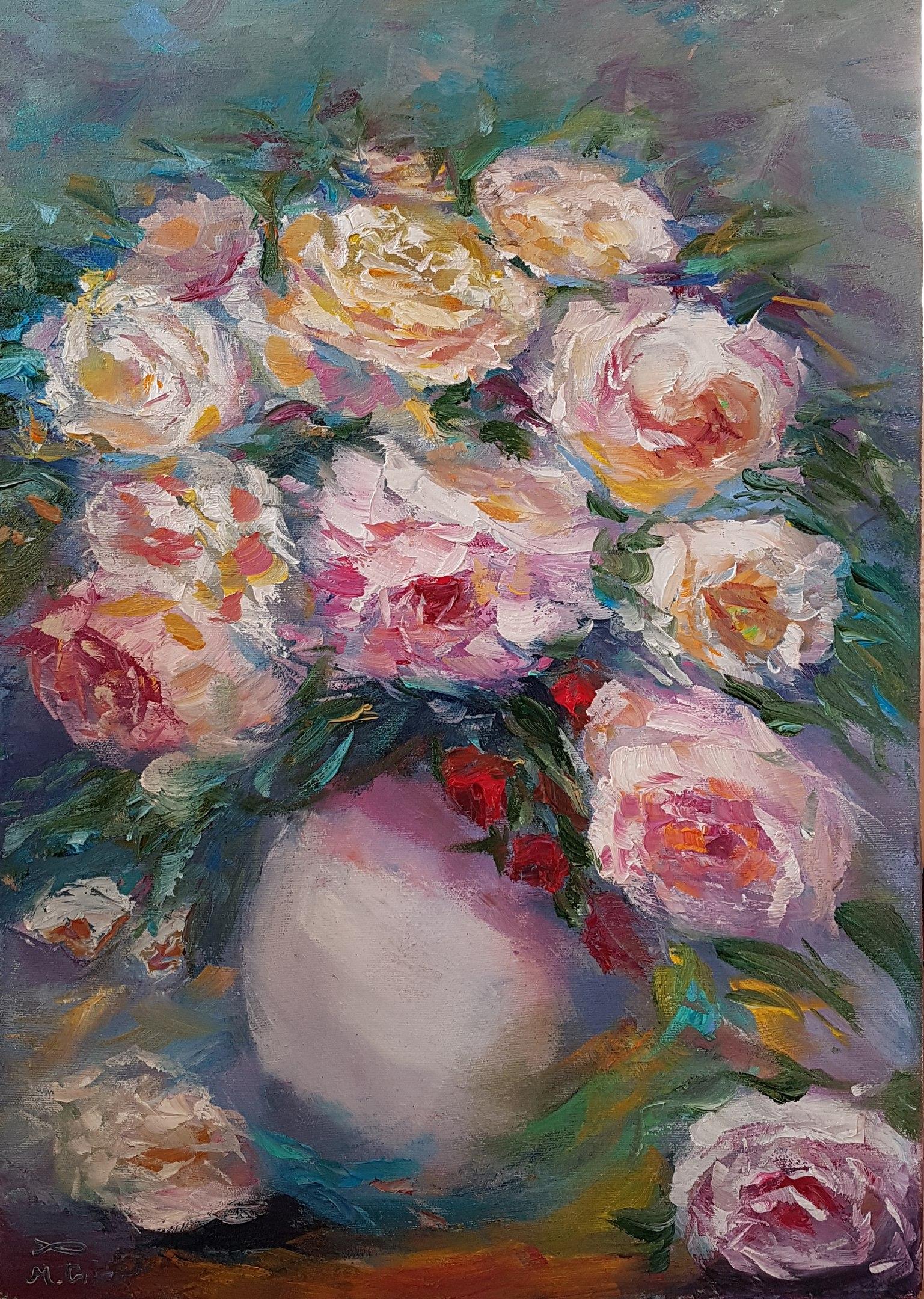 Пионы и розы.