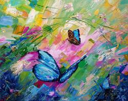 Краски лета, бабочки, живопись