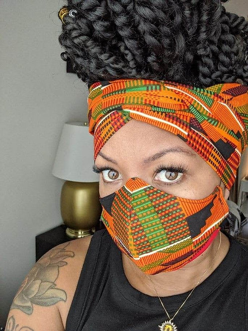 Kente Headwrap and Mask Set