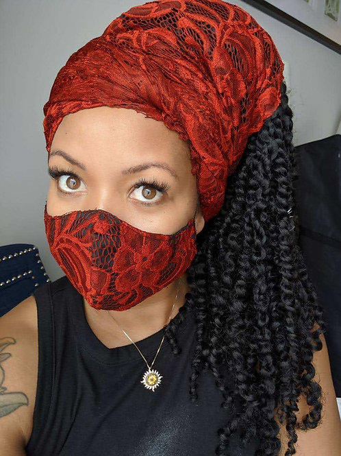 Red Lace Headwrap & Mask Set