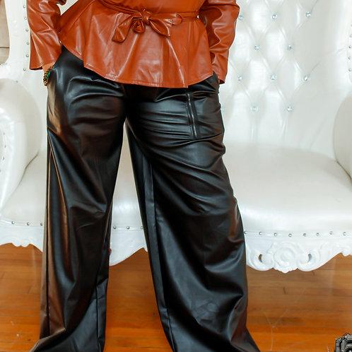 High Waist Vegan Leather Pants