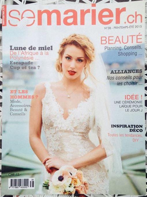 Elodie Montant Maquilleuse professionnelle publication presse dans le magazine se marier.ch printemps été 2015 couverture Tanaïs Basset
