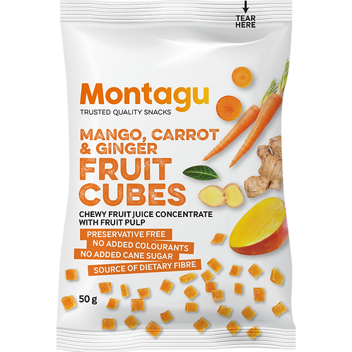 Montagu Cubes de Fruits Mangue, Carotte & Gingembre 50g
