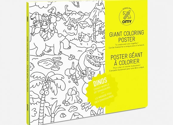 Poster à colorier Dinosaures grand format - OMY