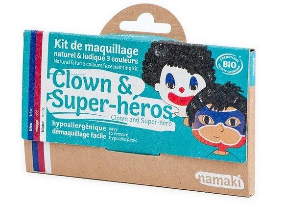 Kit de maquillage 3 couleurs Clown & Super-héros - NAMAKI