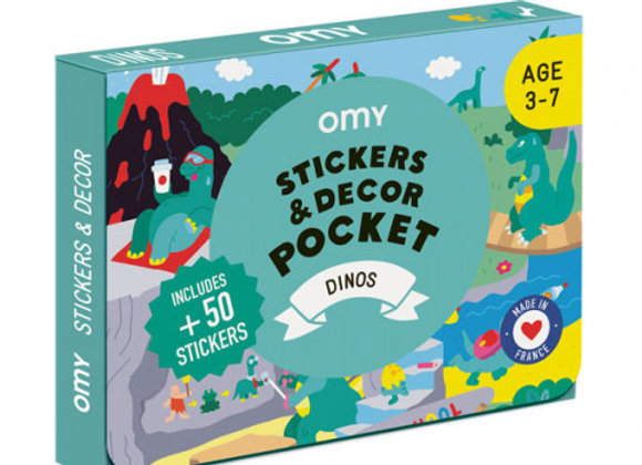 Coffret stickers et décor Pocket Dinosaures - OMY