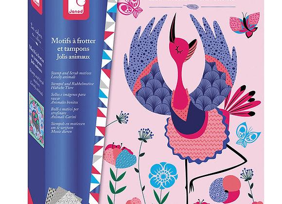 Motifs à frotter et tampons Jolis Animaux Les Ateliers du Calme Hachette - JANOD