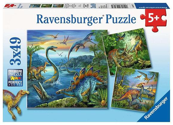 Puzzle Fascination Dinosaures 3 x 49 pièces - RAVENSBURGER