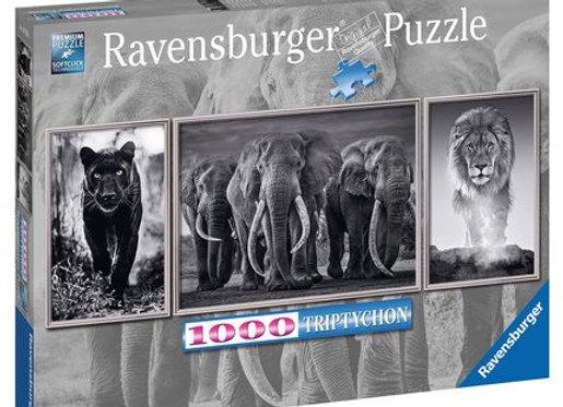 Puzzle 1000 pièces triptyque éléphant lion panthère - RAVENSBURGER