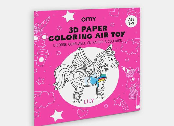 Licorne Lily  3D   à colorier et à gonfler - OMY