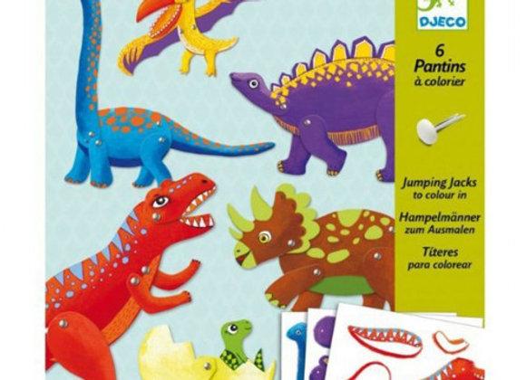 6 pantins à colorier Dinosaures - DJECO