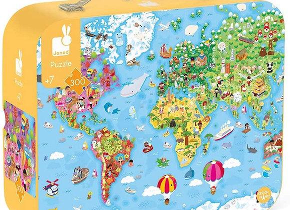 Puzzle géant carte du monde 300 pièces - JANOD