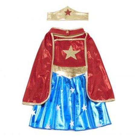 Super héroïne (tunique, cape et bandeau) 5/6 ans - GREAT PRETENDERS