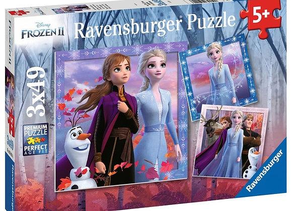 Puzzles Le voyage commence Disney La Reine des Neiges 2 3x49 pièces - RAVENSBUR