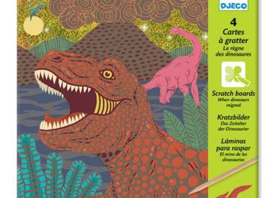 4 cartes à gratter le règne des dinosaures - DJECO
