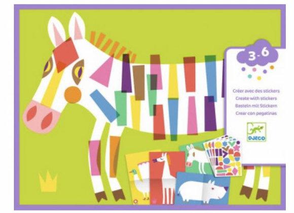 Créer avec des stickers Les grands animaux - DJECO