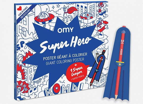 Poster géant à colorier Super Héro - OMY
