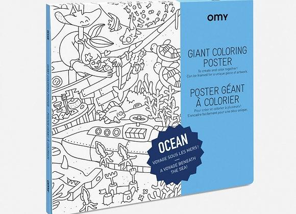 Poster à colorier Océan grand format - OMY