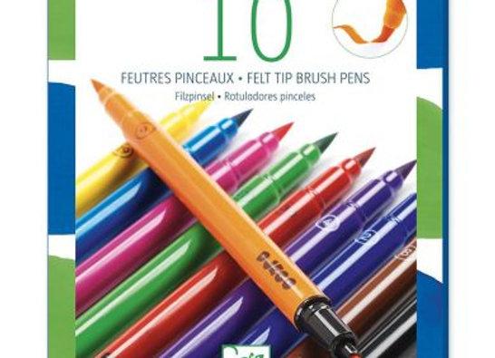 10 feutres pinceaux classiques - DJECO