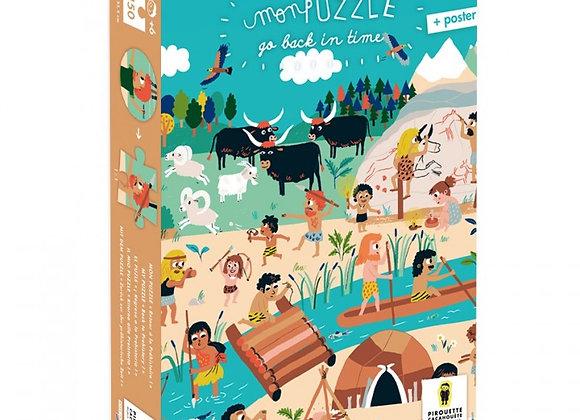 """Puzzle 150 pièces""""Go Back in Time"""", retour à la Préhistoire! PIROUETTE CACAHUETE"""