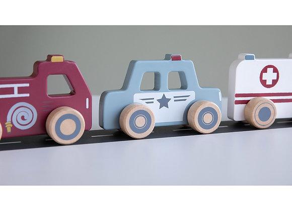Trio de véhicules de secours en bois - LITTLE DUTCH
